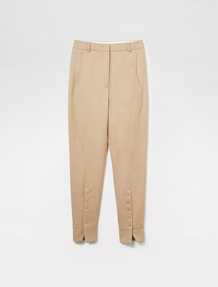Pantalone slim fit in lana con spacchi centrali
