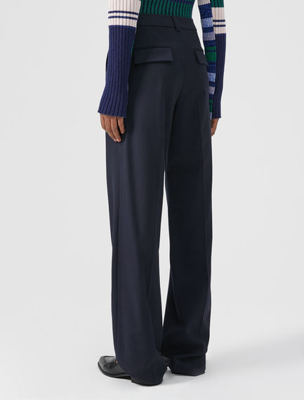 Long Wool Cotton Trousers