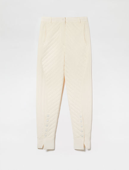Slit-hem Quilted Trousers