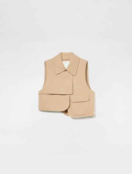 Gilet in cashmere con maxi tasca