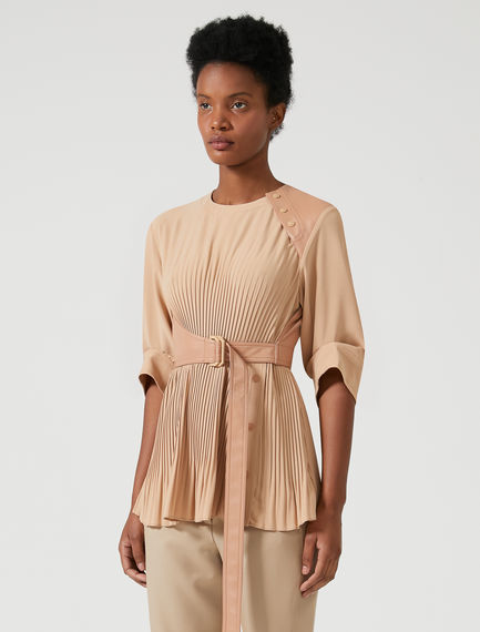 Pleated Shoulder-detail Top