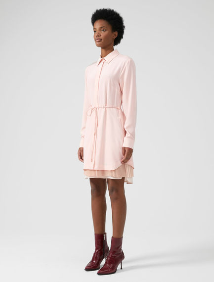 Layered Silk Crêpe Shirtdress