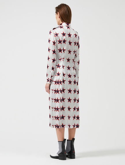 Star Print Silk Satin Shirtdress