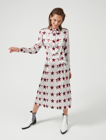 Star Print Silk Satin Shirtdress Sportmax