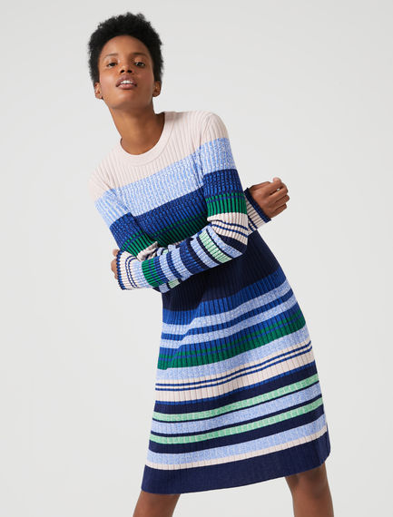 Stripe Flared Sweater Dress