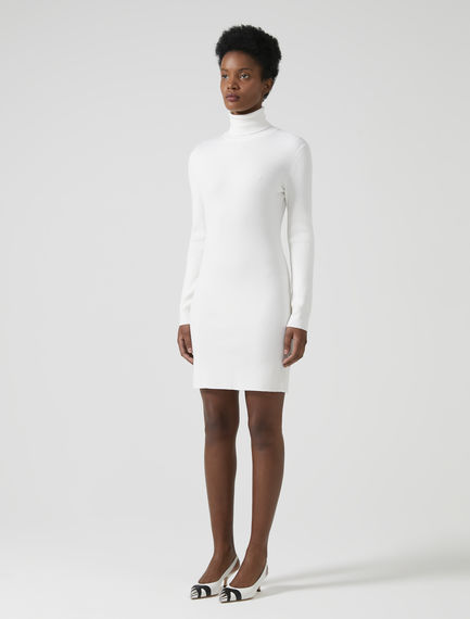 Ribbed Wool High-neck Dress