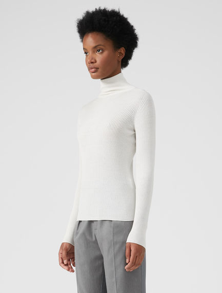 Roll-neck Ribbed Sweater