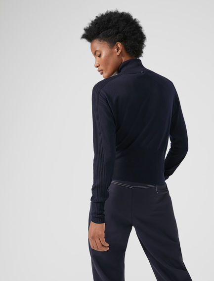 Athletic Polo Neck Wool Sweater