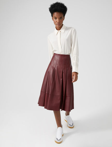 Pleated Nappa Leather Skirt Sportmax
