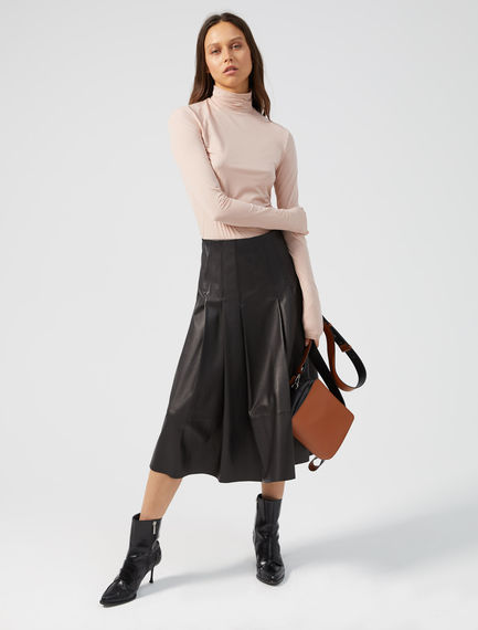 Pleated Nappa Leather Skirt