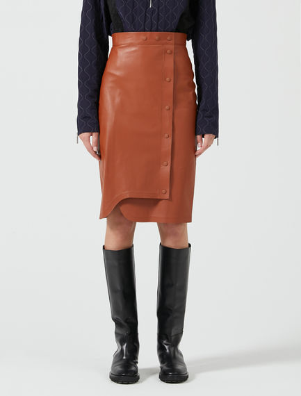 Asymmetric Leather Pencil Skirt