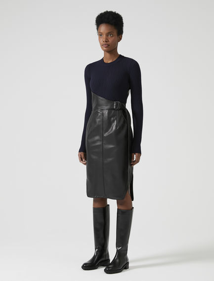 Leather/Knit Pencil Dress