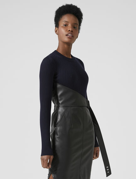 Leather/Knit Pencil Dress Sportmax
