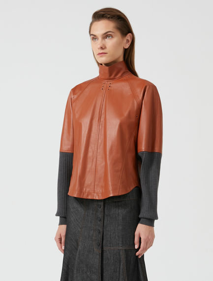 Leather Fusion Sweatshirt Top