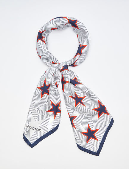 Graphic Silk Satin Scarf Sportmax