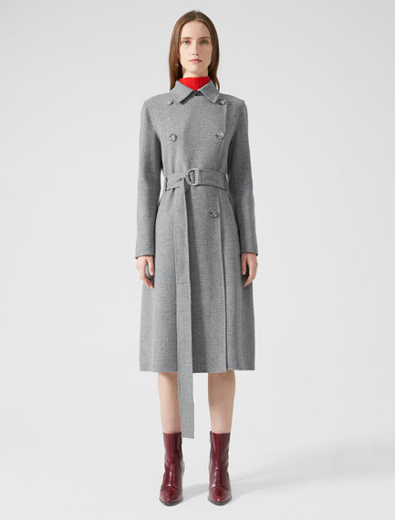 Prince of Wales Check Wool Trench Coat