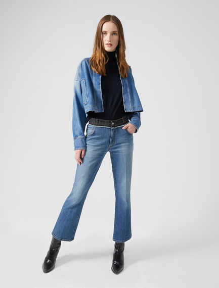 Robe-cut Cropped Denim Jacket