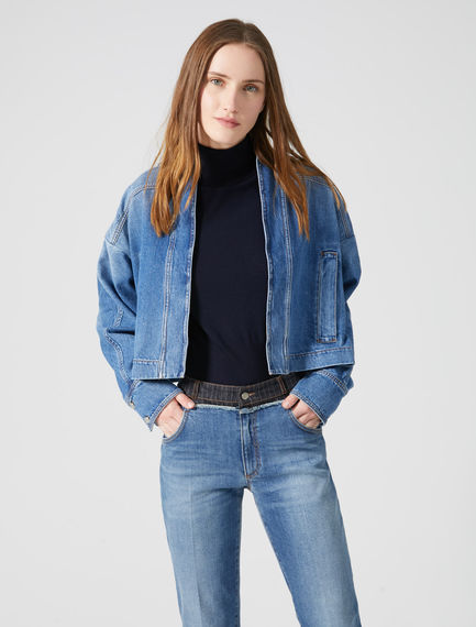 Giacca cropped in denim Sportmax