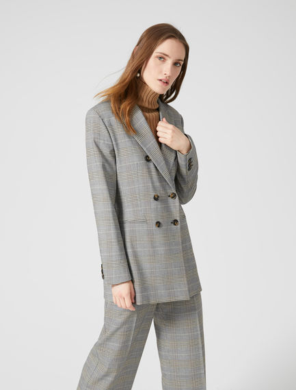 Checked Asymmetric Blazer