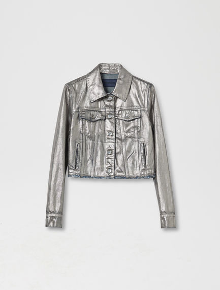 Cropped Silver Denim Jacket