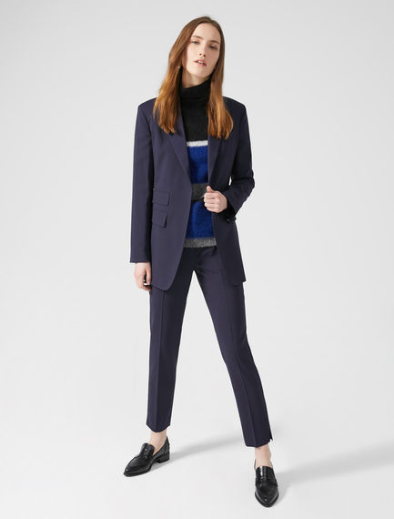 Asymmetric Pocket Wool Blazer