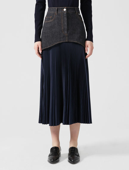 Fusion Pleated Denim Skirt
