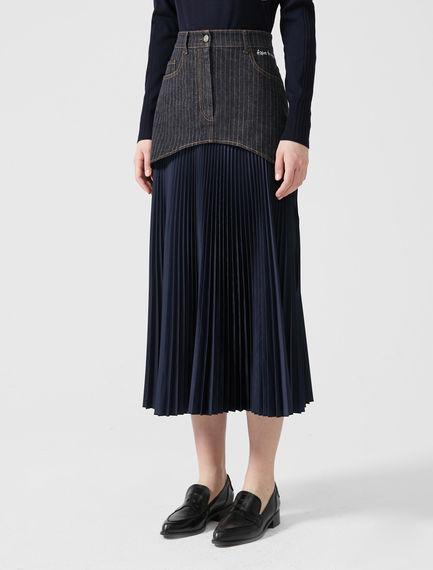 Fusion Pleated Denim Skirt