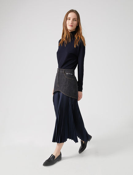Fusion Pleated Denim Skirt Sportmax