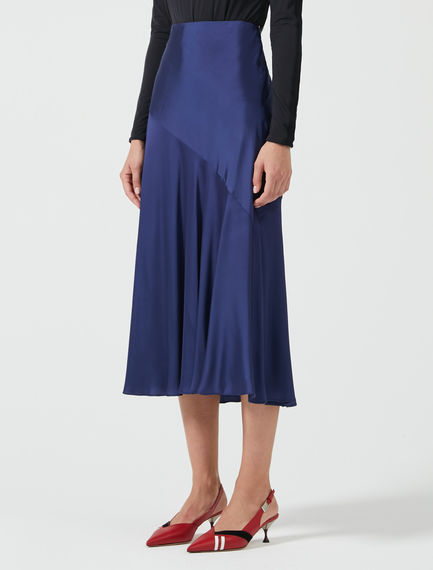 Fluted Satin Midi Skirt