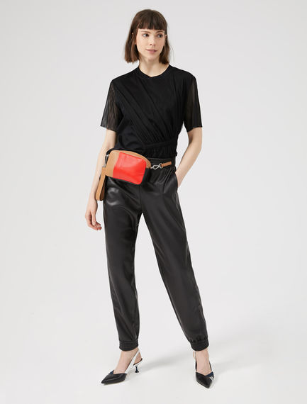 Pantaloni jogging in ecopelle Sportmax