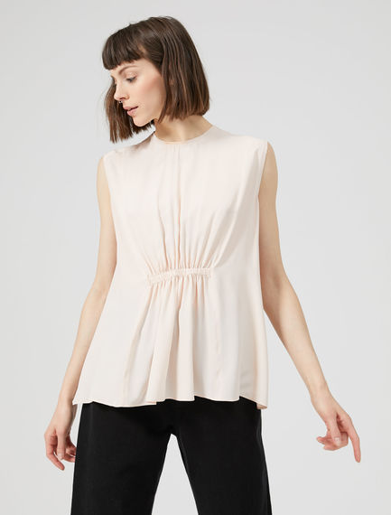 Ruched Crêpe de Chine Top