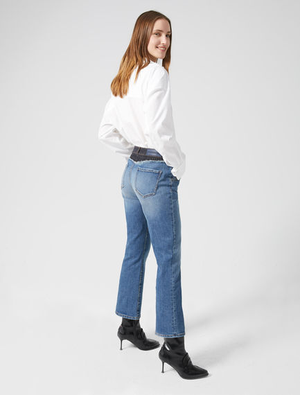 Double-denim Kick Flare Jeans