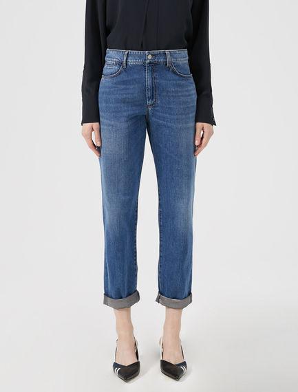 Jeans boyfriend con risvolto laminato