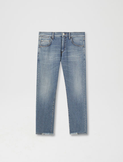 Cropped & Frayed Slim Jeans