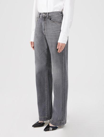 Jeans grigio a gamba ampia