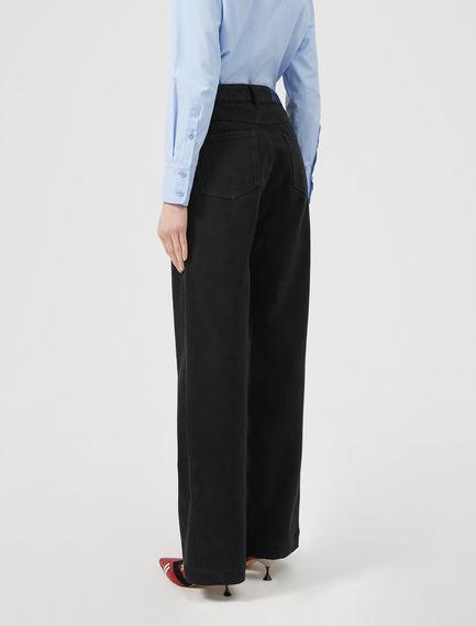 Jeans neri a gamba ampia