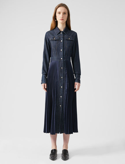 Fusion Pleated Denim Dress
