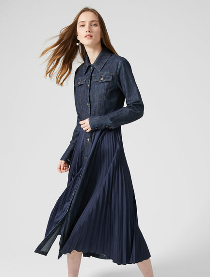 Fusion Pleated Denim Dress Sportmax
