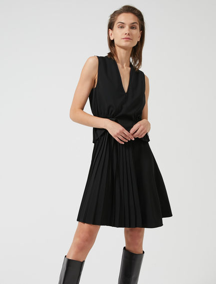 Double-Pleated Peplum Dress