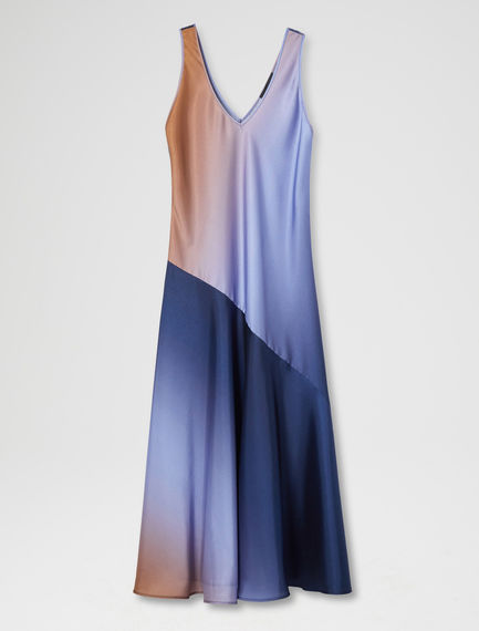 V Back Asymmetric Slip Dress