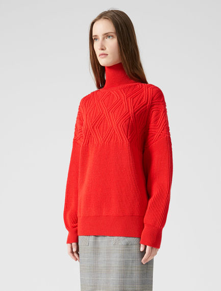 Funnel Neck Jacquard Wool Sweater