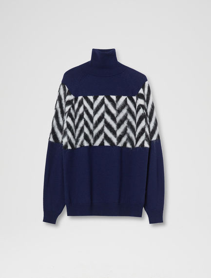 Herringbone Fusion Polo Neck Sweater