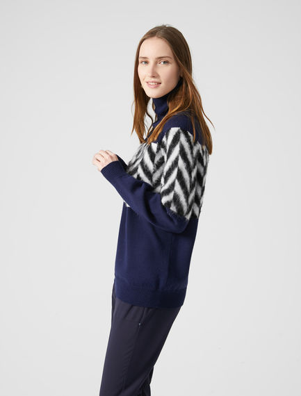 Herringbone Fusion Polo Neck Sweater Sportmax