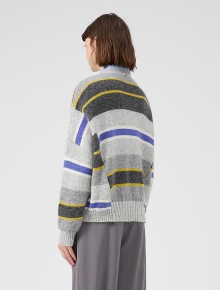 Slouchy Striped Alpaca Sweater