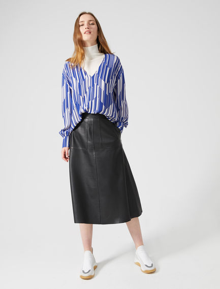 Zip Kick Nappa Midi Skirt