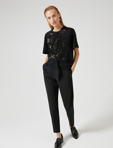 Cotton-crêpe Sequin T-shirt