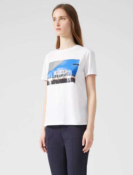 T-shirt con stampa e ricamo