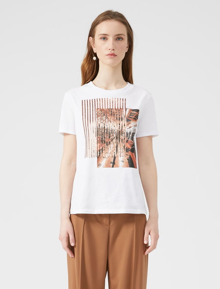 Printed Sequin T-shirt