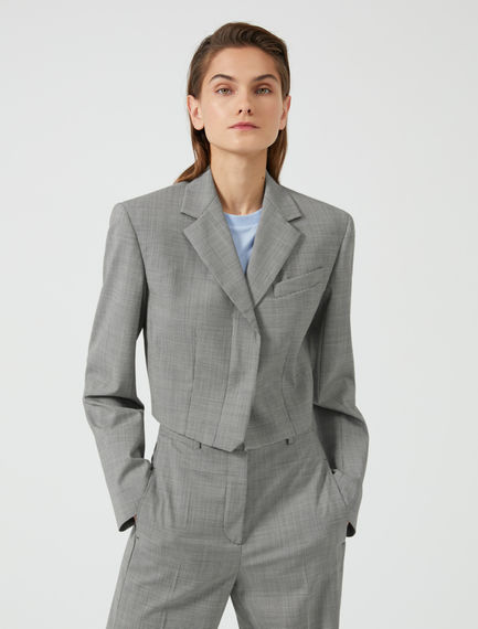 Structured Crop Wool Blazer
