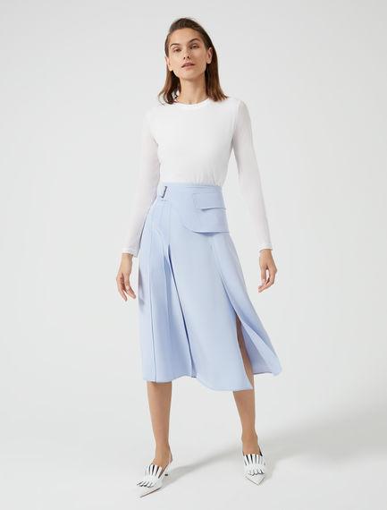 Laser-Cut Silk Midi Skirt